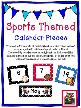 Sports Themed Calendar Set w/Days of the Week