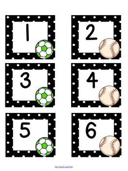 Sports Themed Calendar Set w/Days of the Week