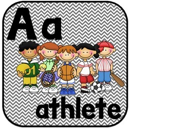 Sports Themed Classroom Alphabet With Chevron - Full Page Size