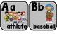 Sports Themed Classroom Alphabet with Geometric Shape Background