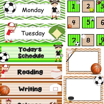 Classroom Decor - Sports (Editable)