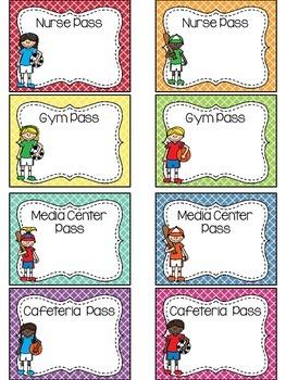 EDITABLE Sports Themed Classroom Passes