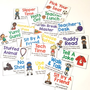 Sports Themed Classroom Reward Coupons