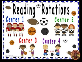 Sports Themed Daily Automated Centers/Guided Reading Rotations with 4 centers