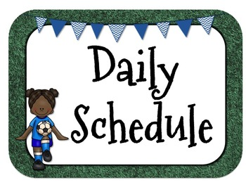 Sports Themed Daily Schedule-Analog l Digital-Editable