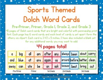 Sports Themed Decor Dolch Word Cards (Pre-Primer-3rd Grade)