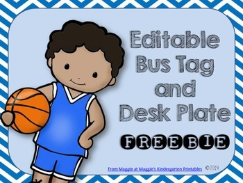 Sports Themed Desk Plates and Bus Tags FREE