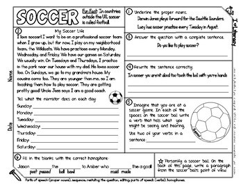 Sports Themed ELA and Reading Skills Review Mini-Pack - Morning Work