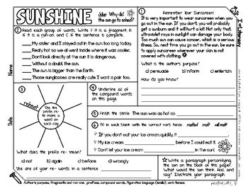 Weather Themed ELA and Reading Skills Review Mini-Pack - Morning Work