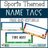 Sports Themed Editable Name Tags FREEBIE
