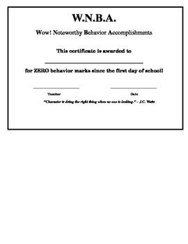 Sports Themed Good Behavior Certificate