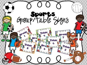 Sports Themed Group/Table Signs