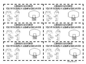 Sports Themed Homework Passes