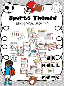 Sports Themed Library/Media Center Pack {with EDITABLE passes and signs}