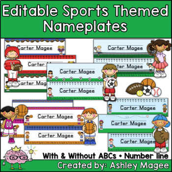 Sports Themed Editable Name Plates / Desk Plates /  Name tags