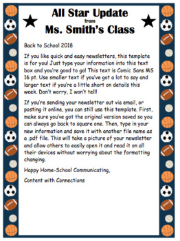 Sports Themed Newsletter-4 EDITABLE designs! Great for Coaches!