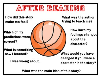 Sports Themed Question Stem Posters for Buddy Reading