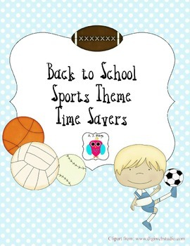 Sports Themed Resources Back to School