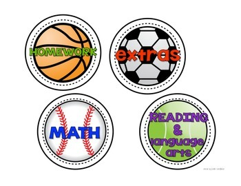 Sports Themed Subject Labels