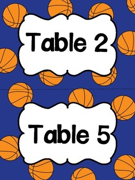Sports Themed Table Signs