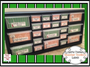 Sports Themed EDITABLE Teacher Toolbox Labels FREEBIE