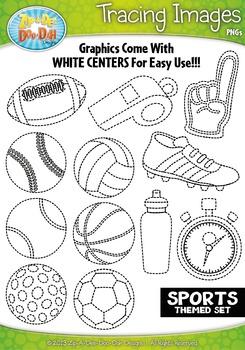 Sports Tracing Image Clipart {Zip-A-Dee-Doo-Dah Designs}