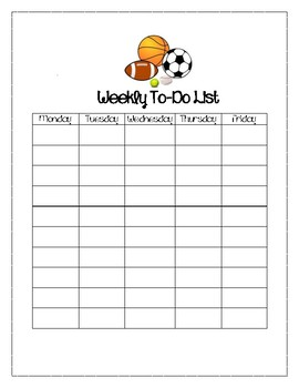 Sports Themed Weekly To-D0 List