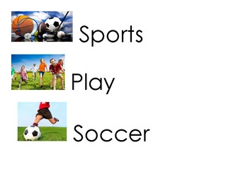 Sports Vocabulary Word Cards