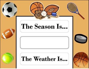 Sports Weather Chart! Sports Bulletin Board! Sports Theme! PE Class Decor!