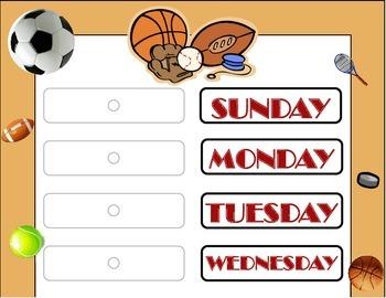 Sports Weekday Chart! Sports Bulletin Board! Sports Theme!