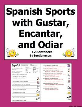 Spanish Sports With Gustar, Encantar and Odiar Worksheet - Los Deportes