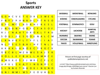 Sports Word Search  -Great for P.E. Teachers, Sub Plans, and Early Finishers!