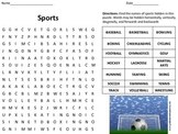 Sports Word Search  -Great for P.E. Teachers, Sub Plans, a