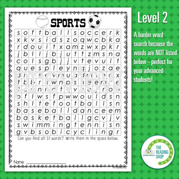 Sports Word Search Puzzle - 3 Levels Differentiated by The ...