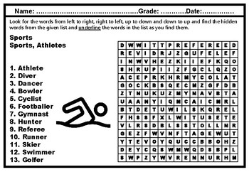 Sports, Word Search, Vocabulary Worksheets