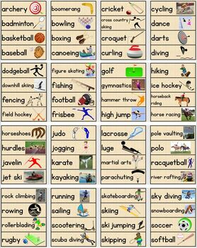 Sports Word Wall/Pocket Chart Cards With Pictures