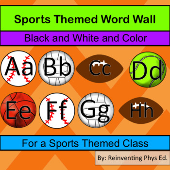 Sports Word Wall Theme Letters - Color and Black and White