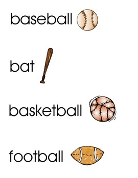 Sports Word Wall/vocabulary cards
