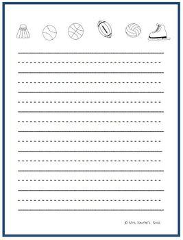 Writing Paper Templates - Sports Theme