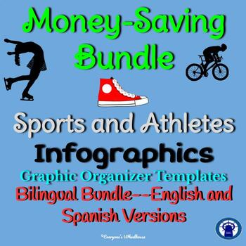 Sports and Athletes Research Infographics Graphic Organizers Bilingual Bundle