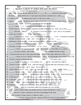 Sports and Exercise 1 Page BW Worksheet