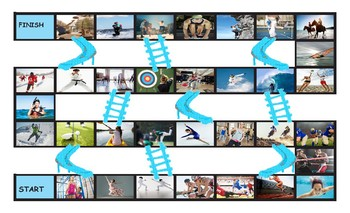 Sports and Exercise Legal Size Photo Chutes and Ladders Game