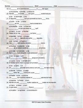 Sports and Exercise Missing Words Spanish Worksheet