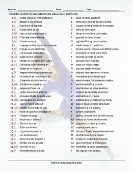 Sports and Exercise Sentence Match Spanish Worksheet
