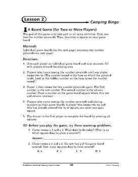 Sports and Hobbies Math: Camping-Camping Bingo