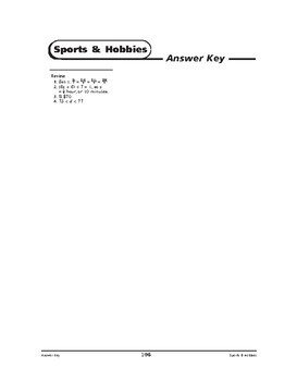 Sports and Hobbies Math: Making Choices-REVIEW