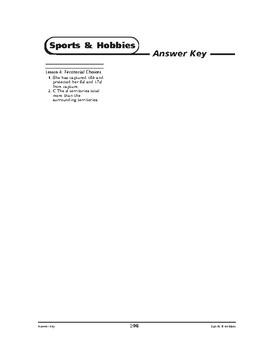 Sports and Hobbies Math: Making Choices-Territorial Choices