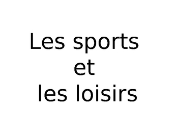 Sports and Leisure vocabulary PowerPoint
