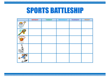 Sports battleship. Speaking activity.
