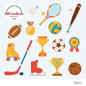 Sports clipart, hockey, baseball, football, trophy, prize emblem CL007